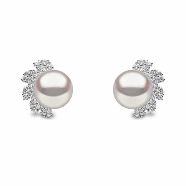 Fresh Water Pearl and Diamond Stud Earrings
